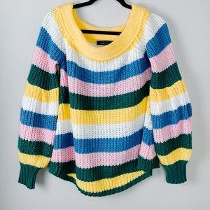 Blue Blush Boatneck Ballon Sleeve Sweater Top Smal